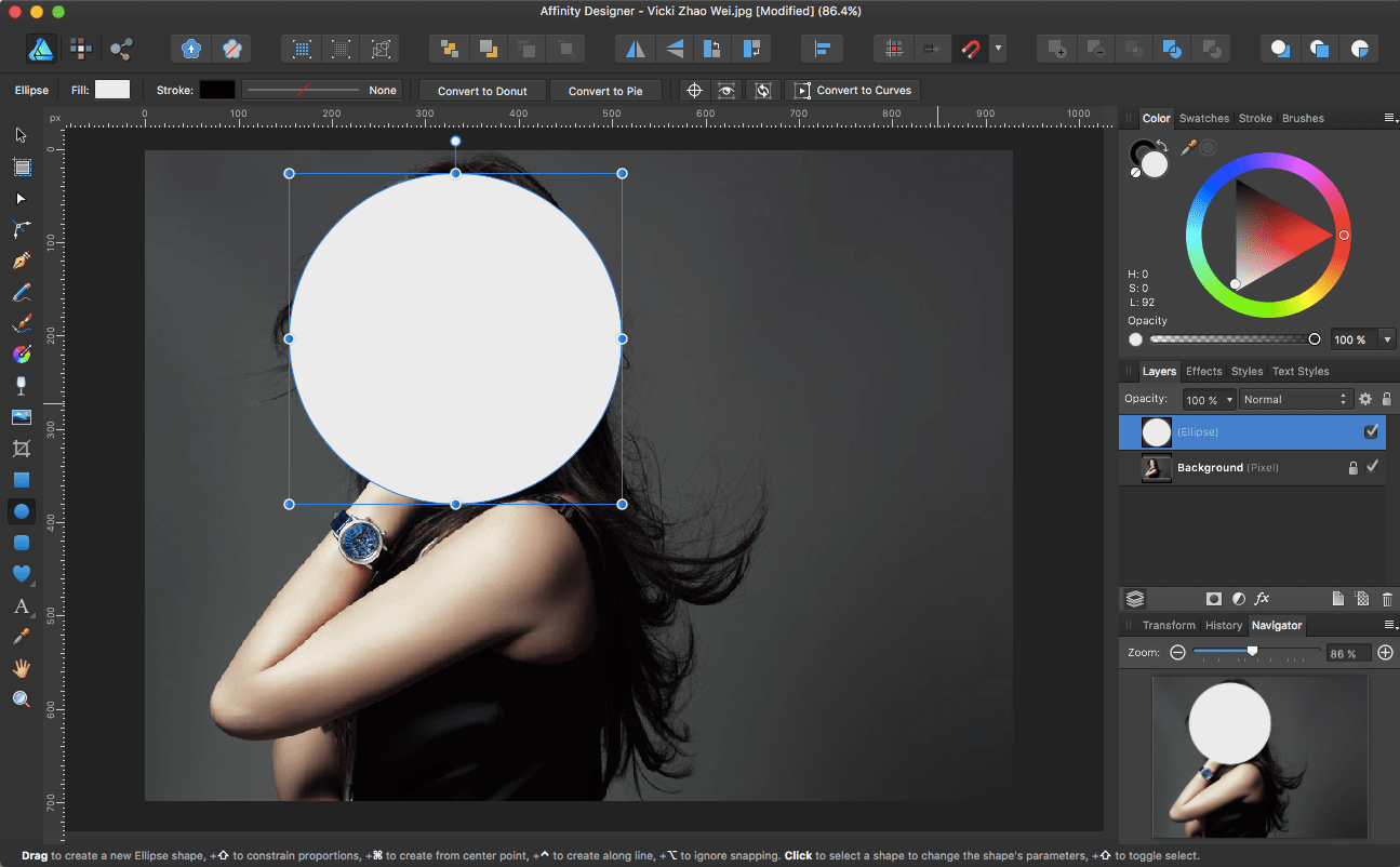 Affinity Designer: Crop an Image into a Circle