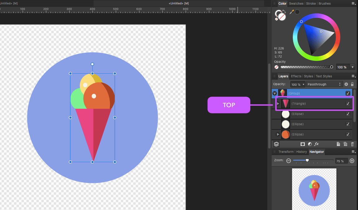 affinity designer round ice cream cone layers dragged