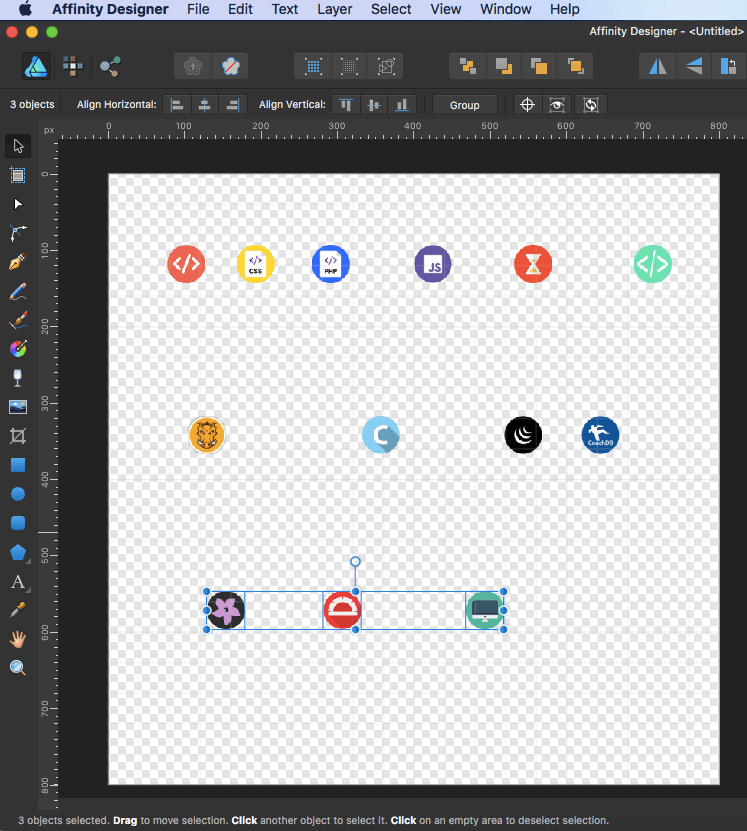 affinity designer sprite all rows middle align