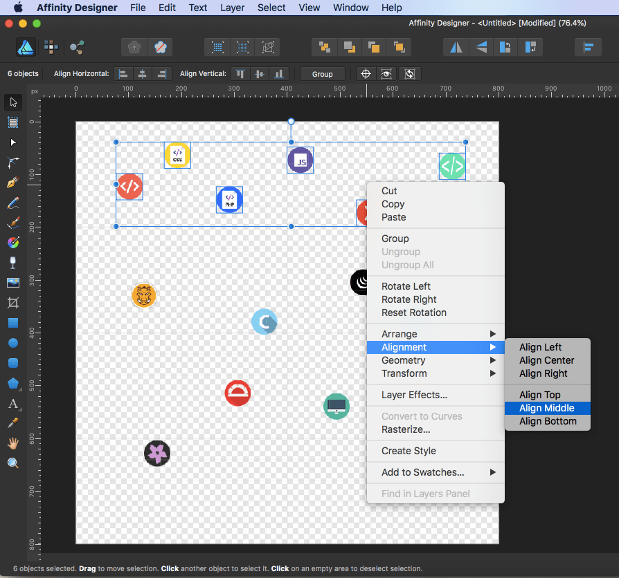 affinity designer sprite select right click