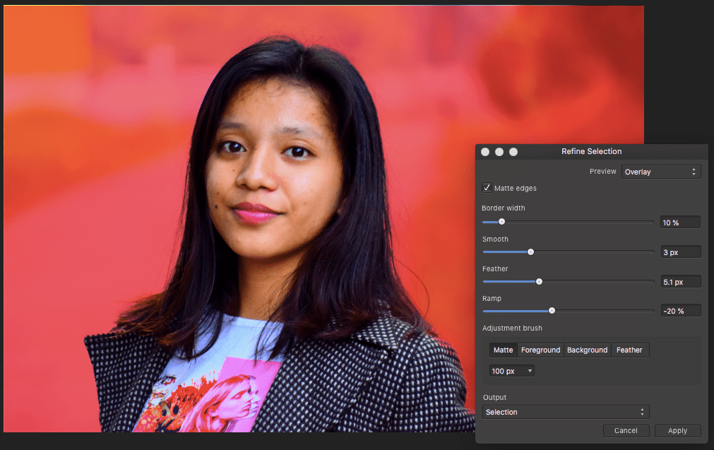 affinity photo refine brush applied