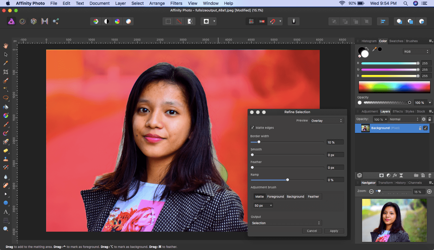 affinity photo refine selection