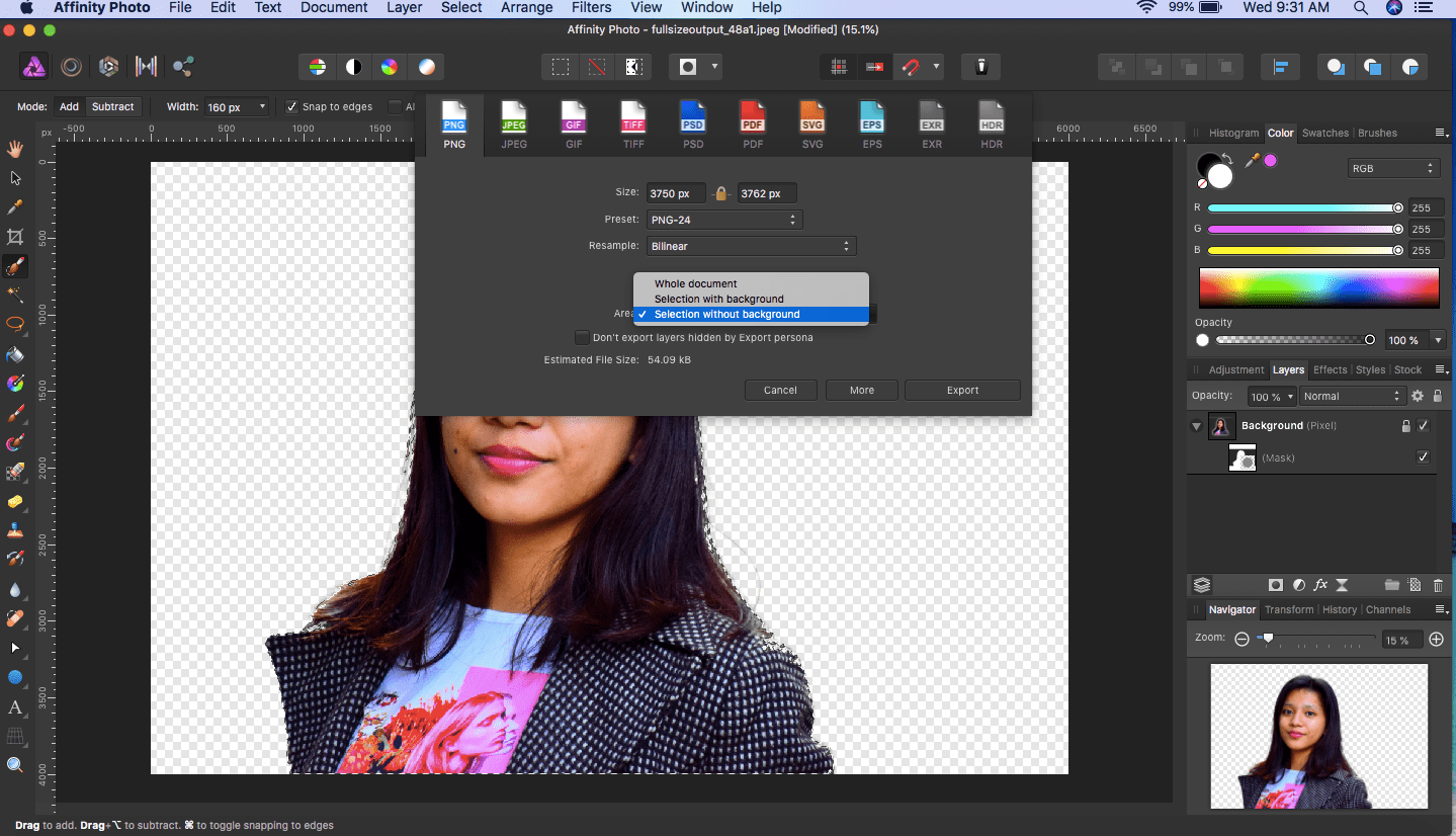 affinity photo export selected