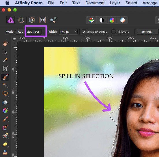 affinity photo selection brush tool selection subtract